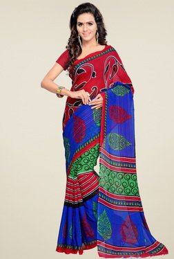 Ishin Blue & Red Printed Saree With Blouse