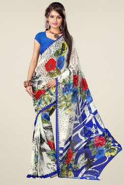 Ishin White & Blue Printed Saree With Blouse