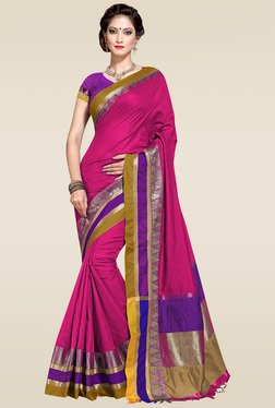 Ishin Pink Woven Zari Border Saree With Blouse