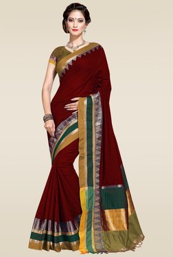 Ishin Maroon Woven Zari Border Saree With Blouse