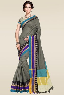 Ishin Light Grey Zari Border Saree With Blouse