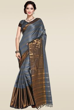 Ishin Light Grey Woven Zari Border Saree With Blouse