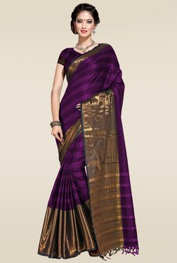 Ishin Purple Zari Border Saree With Blouse