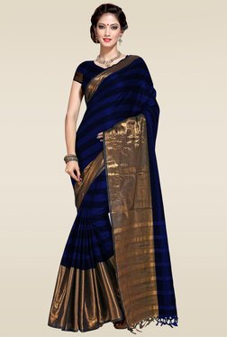 Ishin Blue Zari Border Saree With Blouse