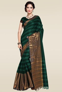 Ishin Green Zari Border Saree With Blouse