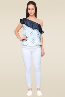 Ahalyaa White One Shoulder Top