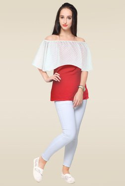 Ahalyaa Red Off Shoulder Top