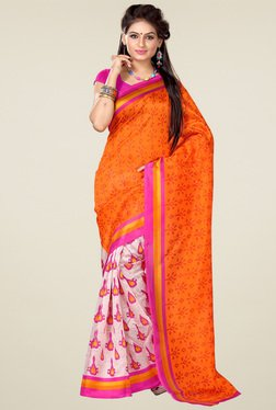 Ishin Orange & White Printed Art Silk Saree