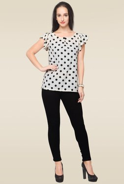 Ahalyaa White Round Neck Printed Top