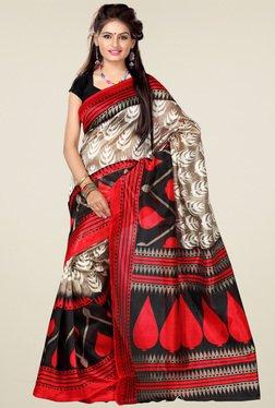 Ishin White & Black Printed Art Silk Saree