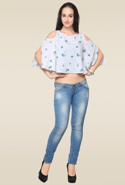 Ahalyaa White Round Neck Top