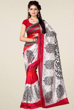 Ishin White & Red Printed Art Silk Saree