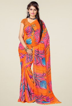 Ishin Orange Floral Printed Saree With Blouse