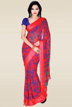 Ishin Pink Floral Printed Saree