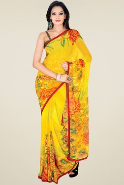 Ishin Yellow Floral Printed Saree With Blouse
