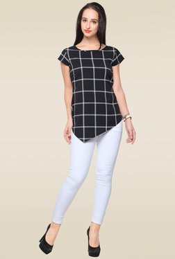 Ahalyaa Black Cap Sleeves Checkered Top
