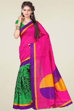 Ishin Dark Pink Printed Art Silk Saree