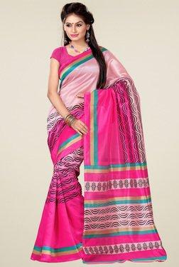 Ishin Light Pink Printed Art Silk Saree