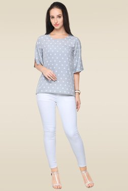 Ahalyaa Grey Boat Neck Top