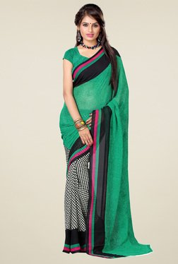Ishin Green & Black Printed Saree With Blouse