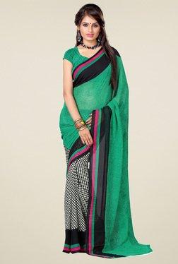Ishin Green & Black Printed Saree With Blouse