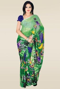 Ishin Green Floral Printed Saree