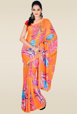 Ishin Orange Printed Saree With Blouse