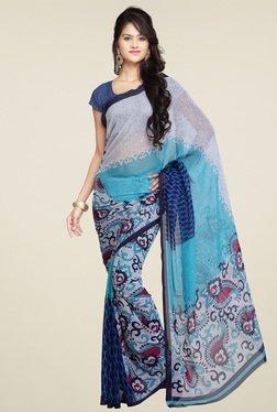 Ishin Blue Paisley Printed Saree