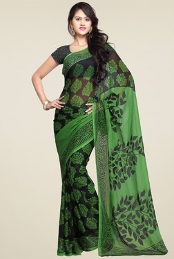 Ishin Green & Black Printed Saree