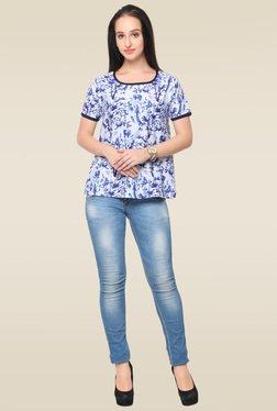 Ahalyaa White Short Sleeves Printed Top