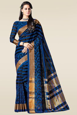Ishin Blue Zari Saree With Blouse