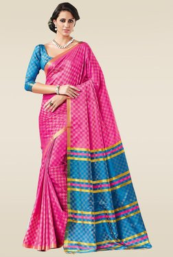 Ishin Pink Zari Saree With Blouse