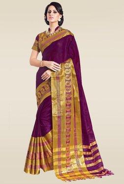 Ishin Purple Paisley Printed Zari Saree With Blouse