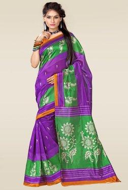 Ishin Purple & Green Art Silk Saree