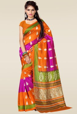 Ishin Orange & Pink Art Silk Saree