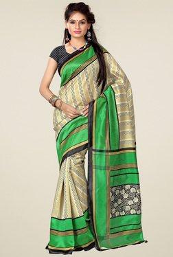 Ishin Beige & Green Art Silk Saree
