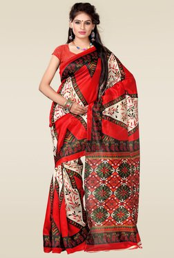 Ishin Beige & Red Art Silk Saree
