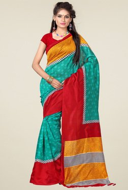 Ishin Green & Red Art Silk Saree