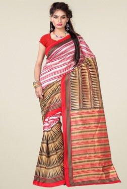 Ishin White & Pink Art Silk Saree