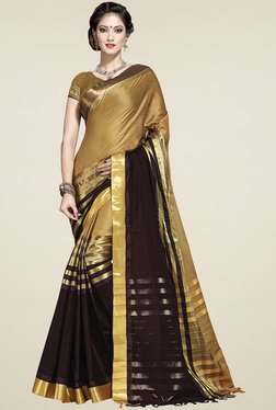 Ishin Brown Zari Saree With Blouse