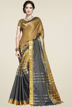 Ishin Grey Zari Saree With Blouse