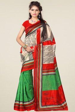 Ishin Beige & Green Printed Art Silk Saree