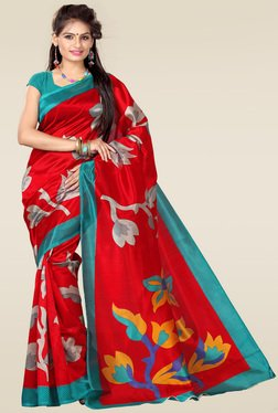 Ishin Red Floral Printed Art Silk Saree