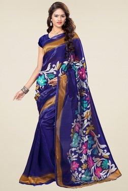 Ishin Dark Blue Floral Printed Art Silk Saree