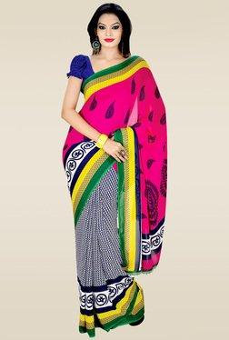 Ishin Blue & Pink Printed Saree