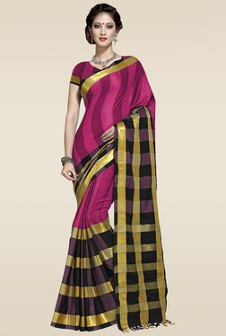 Ishin Pink Golden Zari Saree With Blouse
