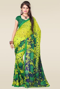 Ishin Green Printed Saree With Blouse