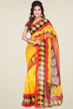 Ishin Yellow Printed Saree With Blouse