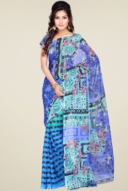 Ishin Blue Floral Printed Saree With Blouse