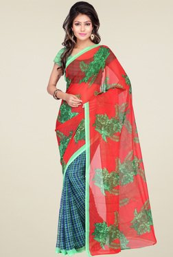 Ishin Blue & Red Printed Saree